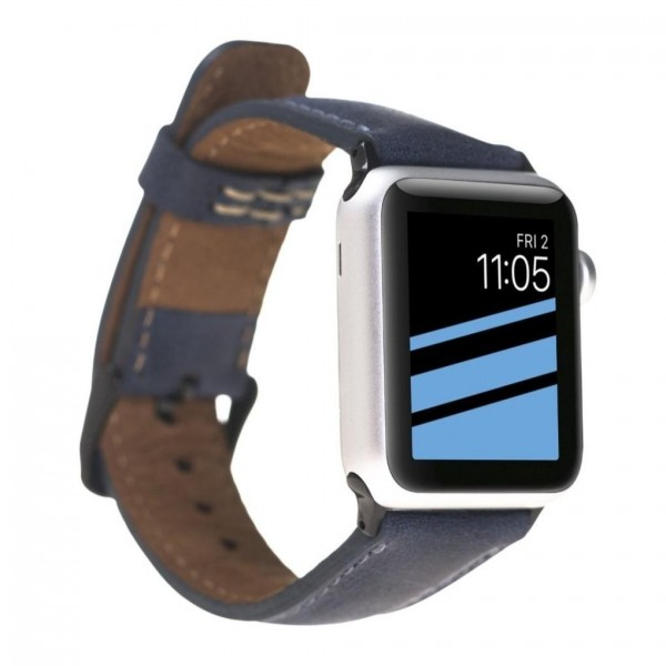 "Fredo Apple Leather Bracelet ""Classic"" (Series 1-6) (Navy Blue)"