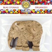 Lonjew Elephant Shaped Wooden Lid Bead Organizer LLZB-097