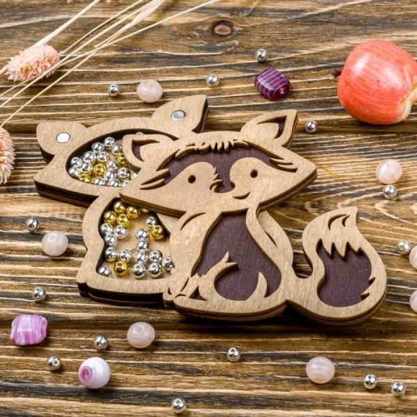 Lonjew Fox Shaped Wooden Lid Bead Organizer LLZB-099