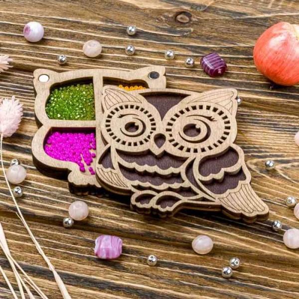 Lonjew Owl Shaped Wooden Lid Bead Organizer LLZB-101