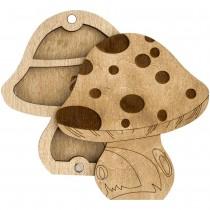 Lonjew Mushroom Shaped Wooden Lid Bead Organizer LLZB-103