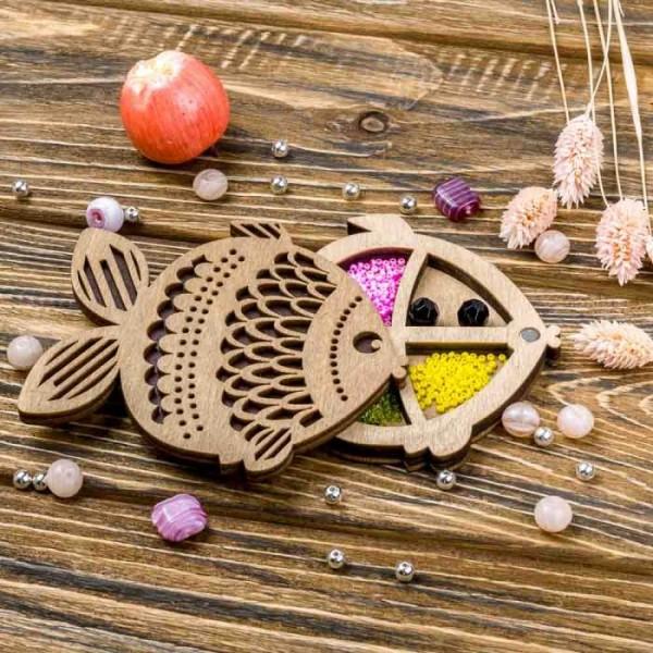 Lonjew Fish Shaped Wooden Lid Bead Organizer LLZB-105