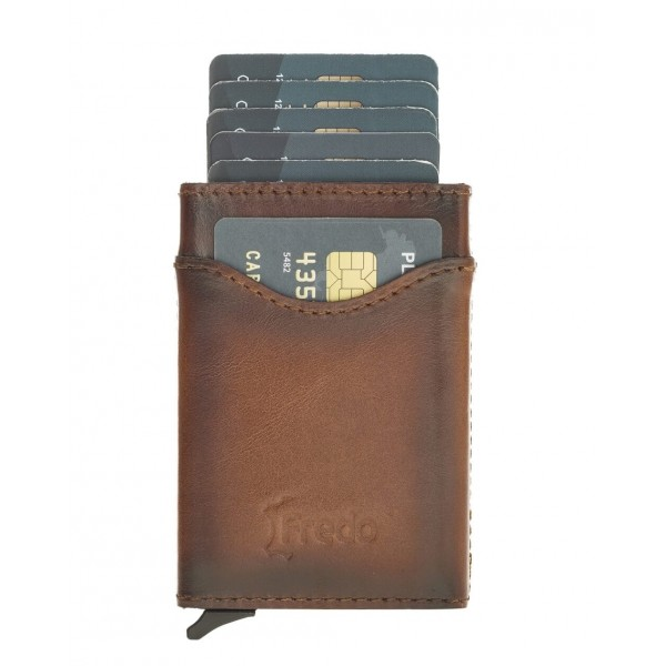 Fredo Card case - Up to 10 Cards Verti- Cognac Brown