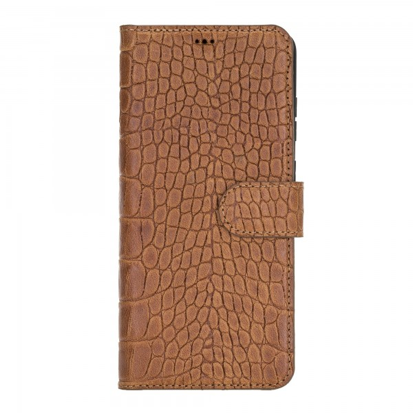 "Fredo Galaxy S20 + | S20 + 5G Leather Case ""Secret Wallet"" (Cognac Brown Crocodile)"