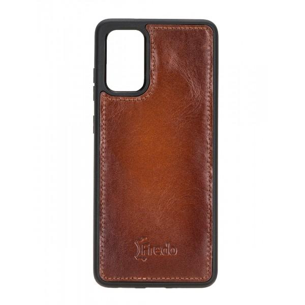 "Fredo Galaxy S20 + | S20 + 5G Leather Case ""Reflex"" (Cognac Brown)"