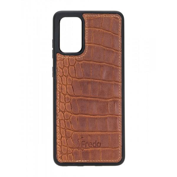 "Fredo Galaxy S20 + | S20 + 5G Leather Case ""Reflex"" (Cognac Brown Crocodile)"