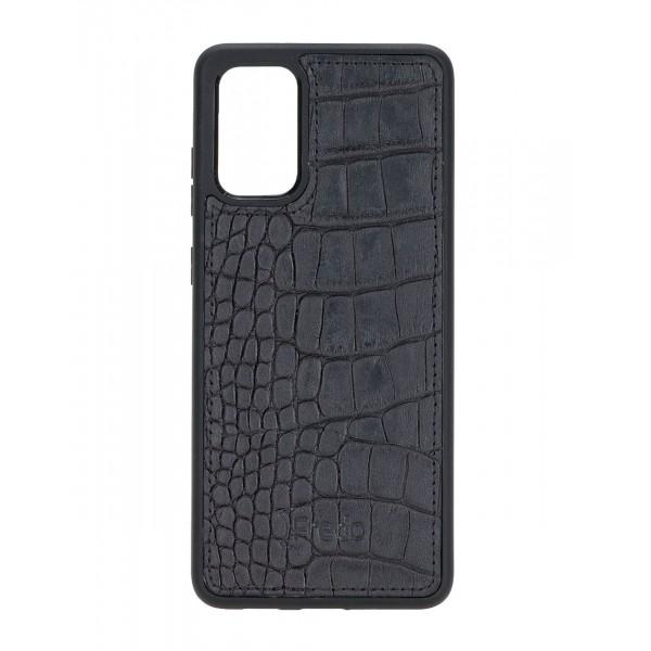 "Fredo Galaxy S20 + | S20 + 5G Leather Case ""Reflex"" (Black Crocodile)"