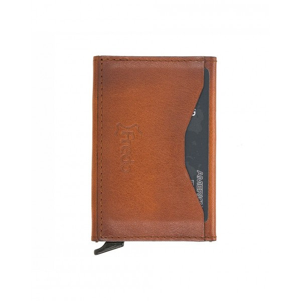 Fredo Card Case - Up To 10 Cards - Cognac Brown