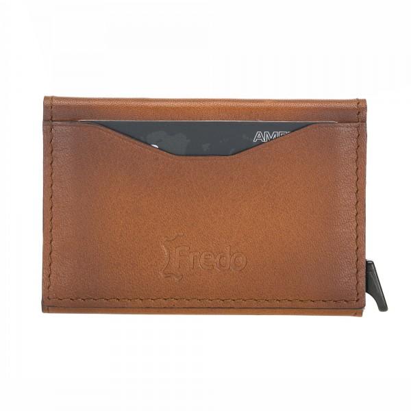 Fredo Card Case - Up To 8 Cards Zipper - Cognac Brown