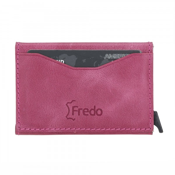 Fredo Card Case - Up To 8 Cards Zipper - Pink