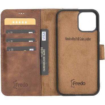 "Fredo iPhone 12 Pro Max 6.7 ""Leather Case"" Secret Wallet ""(Vintage Brown Croco)"