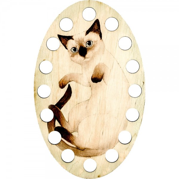 Lonjew Siamese Cat Illustration Themed Wooden Art Painted Thread Embroidery Separator LLZ-005(М-4)