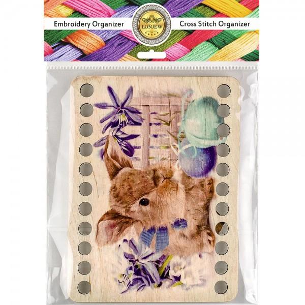 Lonjew Rabbit Themed Wood Dyeing, Wooden Thread Organizer LLZ-003(М-8)