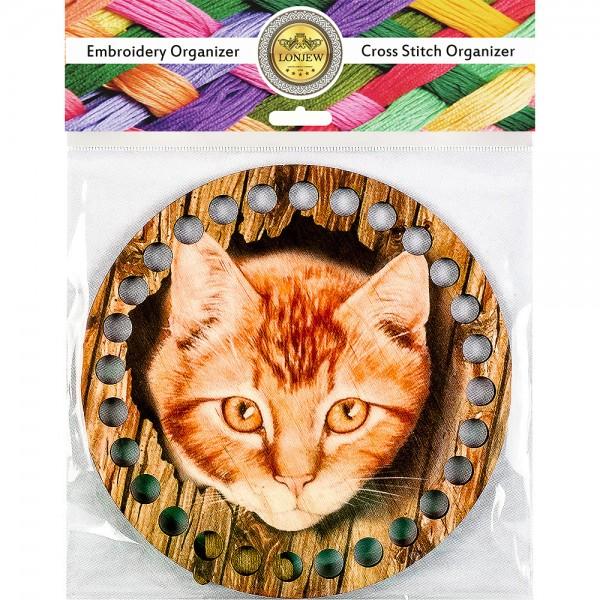 Lonjew Illustrated Cute Cat Designed Wooden Thread Organizer LLZ-002(М-5)