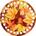Lonjew Autumn Leaves Designed Wooden Organizer, Round Shape Thread Organizer LLZ-002(М-3)