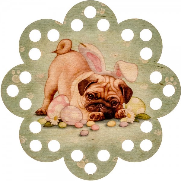 Lonjew Floss Organizer with a Pug Dog in Bunny Ears Print LLZ-009(М-7)