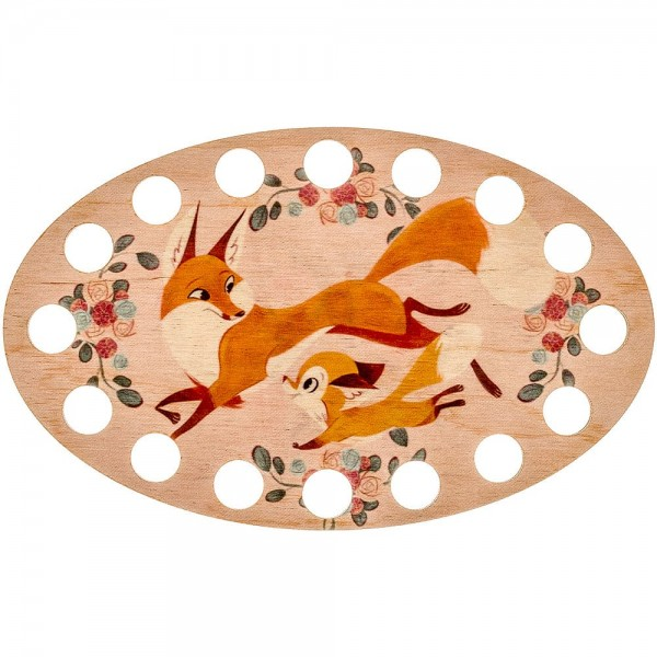 Lonjew Mother Fox and cub Theme Illustration, Wooden Spinning Support LLZ-005(М-6)