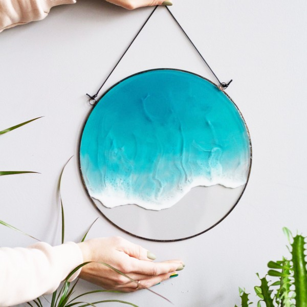 Lonjew Resin Art - One Wave Wall Art, Epoxy Resin Wall Decor, Beach Painting, Seascape Home Decor, Made (Round 10 Inch)