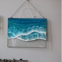 Lonjew Art Resin - Fluid Resin Art, Sea & Ocean Wall Hanging, Beach Wave Framed Picture, Rectangle Window Panel, Seascape Coastal Home Decor, Handmade (Wave 2)