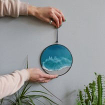 Lonjew Resin Art - One Wave Wall Art, Epoxy Resin Wall Decor, Beach Painting, Seascape Home Decor, Made (Round 6 Inch)