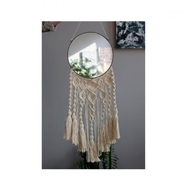 Lonjew Mirrors - Round Wall Mirror, Boho Macrame Mirror, Decorative Wall Hanging Mirror, Woven Wall Hanging, Made (7.8 inches)