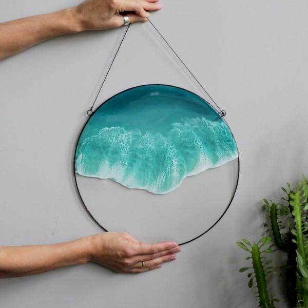 Lonjew Resin Art - Framed Sea Art, Resin Wall Picture, Ocean Wave Home Decor, Beach Coastal Artwork, Round Window Panel, Nautical Decor, Made (One Wave)