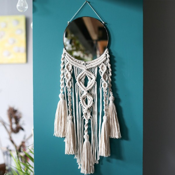Lonjew Mirrors - Round Wall Mirror, Boho Macrame Mirror, Decorative Wall Hanging Mirror, Woven Wall Hanging, Made (9.8 inches)