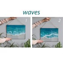 Lonjew Art Resin - Sea Wave Resin Art, Beach Coastal Decor, Ocean Wall Hanging, Fluid Seascape Painting, Framed Rectangular Panel, Nautical Decor (Wave 2)