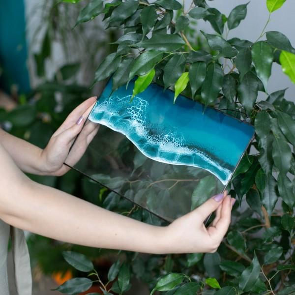 Lonjew Art Resin - Fluid Resin Art, Sea & Ocean Wall Hanging, Beach Wave Framed Picture, Rectangle Window Panel, Seascape Coastal Home Decor, Handmade (Wave 1)