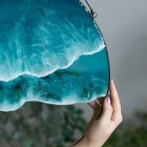 Lonjew Resin Art - Sea & Ocean Resin Art, Double Wave Wall Hanging, Beach Coastal Decor, Glass Home Decor, Window Sun Catcher, Round Framed Panel (2 Wave)