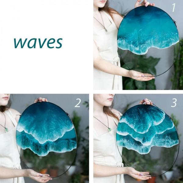 Lonjew Resin Art - Sea & Ocean Resin Art, Double Wave Wall Hanging, Beach Coastal Decor, Glass Home Decor, Window Sun Catcher, Round Framed Panel (1 Wave)