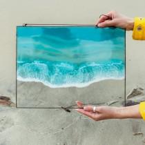 Lonjew Art Resin - Sea Wave Resin Art, Beach Coastal Decor, Ocean Wall Hanging, Fluid Seascape Painting, Framed Rectangular Panel, Nautical Decor (Wave 1)