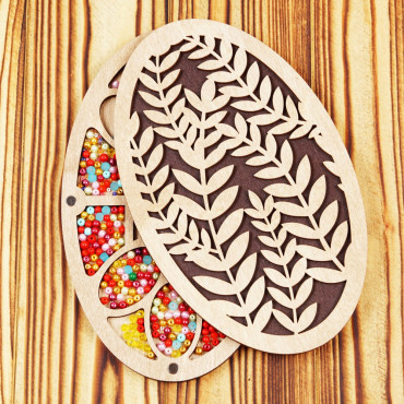 Lonjew Leaf Pattern Oval Shaped Wooden Cover Bead Organizer LLZB-057