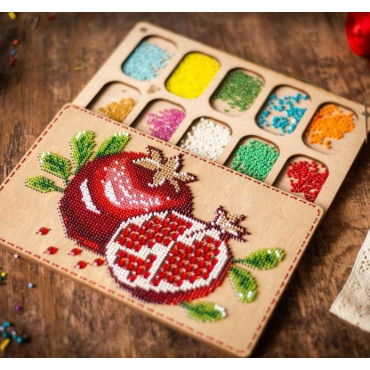 Lonjew Pomegranate Patterned Cover Organizer For Beaded Embroidery LLZB-068