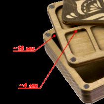 Lonjew Deep Rectangular Two Layer Needle Holder Bead Organizer With Dark Wood Cover LLZB-074