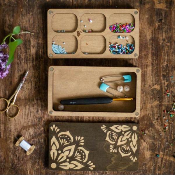 Lonjew Deep Rectangular Two-Layer Bead Organizer with Dark Wood Cover LLZB-075
