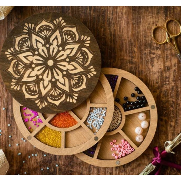 Lonjew Circle Two-Layer Flower Pattern Bead Organizer With Dark Wooden Cover LLZB-076