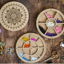 Lonjew Double Layer Bead Organizer With Circle Wooden Cover With Flower Pattern LLZB-081