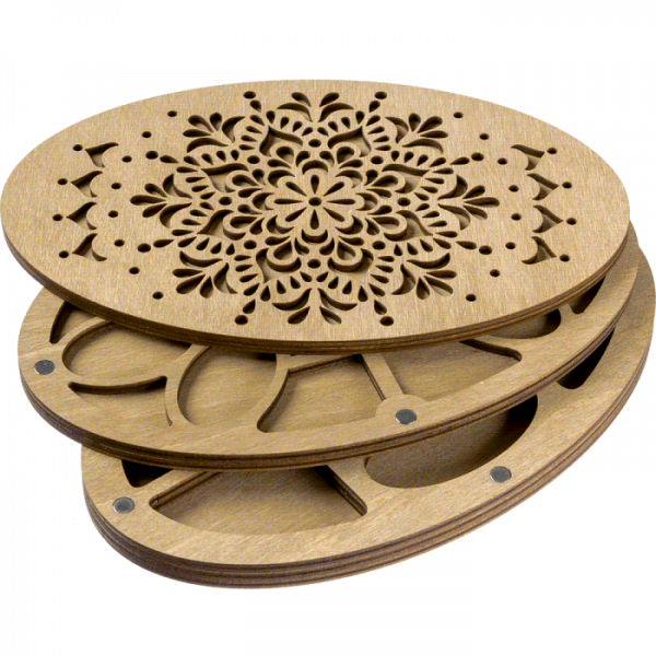 Lonjew Double Layer Bead Organizer with Ellipse Wooden Cover LLZB-082