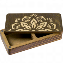 Lonjew Two Compartment Flower Patterned Dark Wooden Covered Craft Box LLZB (N) -001