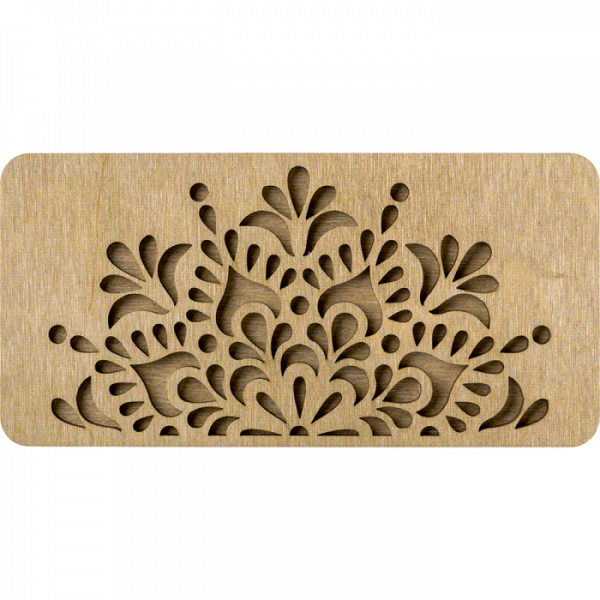 Lonjew Two Compartment Flower Pattern Wooden Cover Craft Box LLZB(N)-003