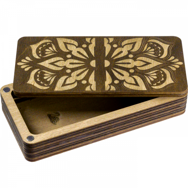 Lonjew Single Section Flower Patterned Dark Wood Covered Craft Box LLZB(N)-007