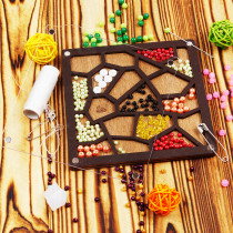 Lonjew Maze-Shaped Bead Organizer Wooden Bead Storage Jewellery Making Gift LLZB-045