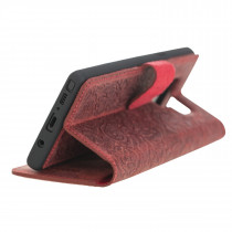 """Fredo Samsung Galaxy Note 9 Leather Case """"Secret Wallet"""" (red rose embossing)"""