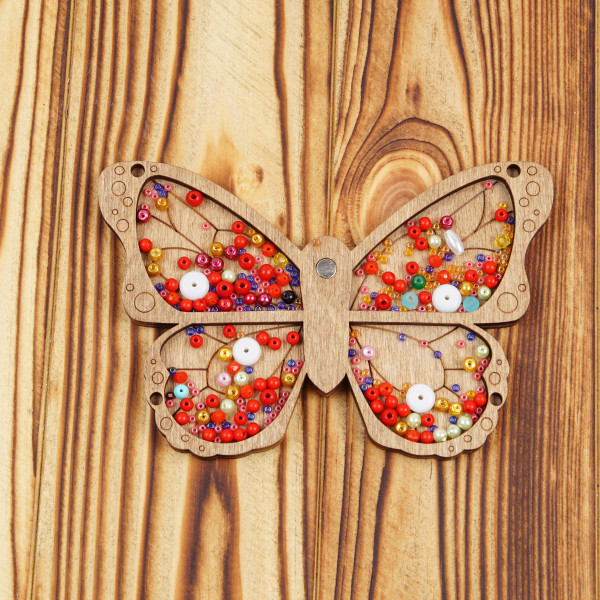 Wooden Butterfly Bead Organizer with Needle minder, Beads Holder, Craft Organization Container, Beadwork Making Storage, Crafter Tray case