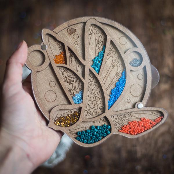 Lonjew Wooden Bead Organizer, Wood Bird Beads Tray Container, Beadwork Craft Organization LLZB-031