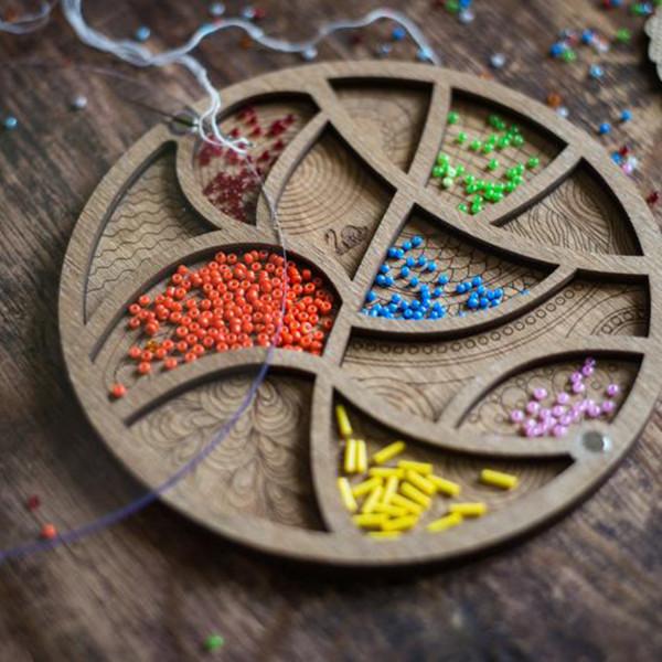 Lonjew Wooden Bead Tray Organizer, Beads Craft Organization, Beadwork Holder Container LLZB-034