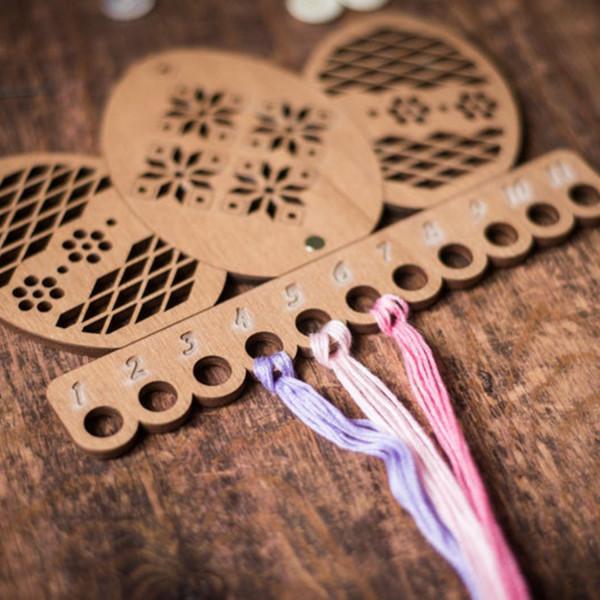Lonjew Carved Wood Eggs Wooden Thread Organizer LLZ(F)-001