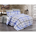 Valuax Cotton bedding set with zip and Scottish patterns in blue and grey colours, 1 duvet cover 135 x 200 cm with 1 pillowcase 80 x 80 cm, 2 pieces (135 x 200 cm).