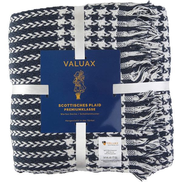 Valuax Bedspread, Bed Throws, Cotton Blanket, Sofa Blanket, Blanket - Very Soft, Breathable and Stylish Plaid Soft Summer Blanket & Winter Blanket with Fringes (130 x 170 cm) (Dark Blue)